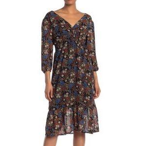 Mimi Chica Surplice Neck Floral Print Chiffon Dres